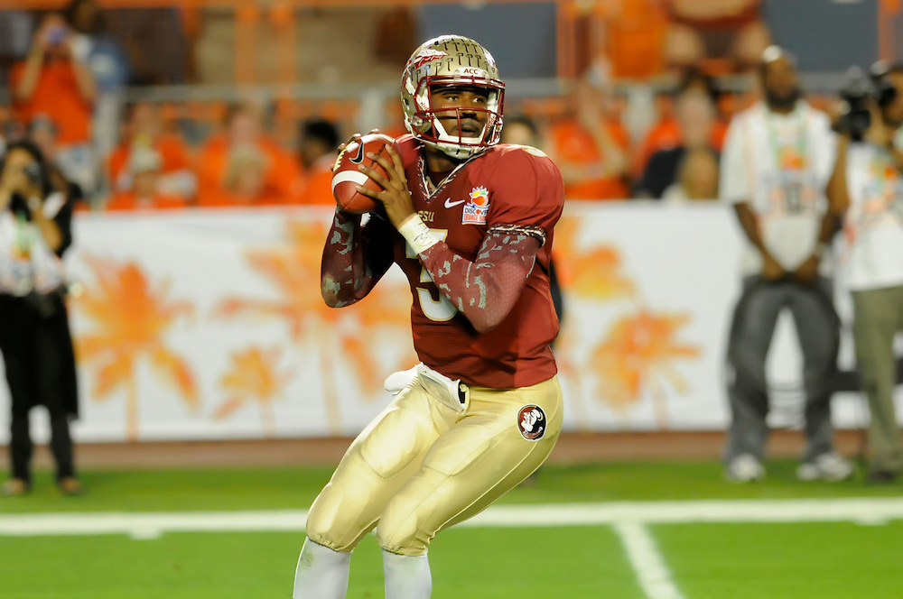 January 1, 2013: E.J. Manuel #3 of Florida State in action during the NCAA football game between the Northern Illinois Huskies and the Florida State Seminoles at the 2013 Orange Bowl in Miami Gardens, Florida. The Seminoles defeated the Huskies 31-10.