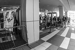 Los Angeles, California, USA - February 26, 2015: Fans line up to enter the Ultimate media day at Club Nokia at L.A. Live for UFC 184 at the Staples Center in Los Angeles, California.  Ed Mulholland for ESPN