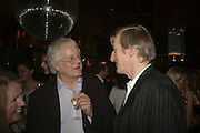 Redmond O'Hanlon and Julian Barnes. publication party for Bill Buford and his memoir HEAT. Hosted by Marco Pierre White at 'Frankie's. Knightsbridge. 10 July 2006. ONE TIME USE ONLY - DO NOT ARCHIVE  © Copyright Photograph by Dafydd Jones 66 Stockwell Park Rd. London SW9 0DA Tel 020 7733 0108 www.dafjones.com