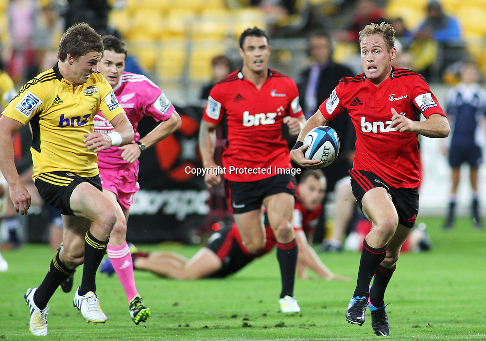 Crusaders' Andy Ellis runs the ball during Super Rugby match, Hurricanes V Crusaders at Westpac Stadium, Wellington, Friday 8 March 2013. Photo.: Grant Down / photosport.co.nz