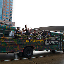 September 9, 2010; New Orleans, LA, USA;  New Orleans Saints fans cheer from a passing bus prior to the NFL Kickoff season opener between the Minnesota Vikings and the New Orleans Saints at the Louisiana Superdome. Mandatory Credit: Derick E. Hingle