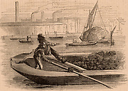 Transport on the River Thames, London, England. Thames lightermen with a load of coal, foreground, with a wherry, a sailing boat, loaded with hay in the background.  From 'London Labour and the London Poor' by Henry Mayhew (London, 1866).