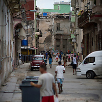 Cuba, Havana central, along el prado, architecture, people