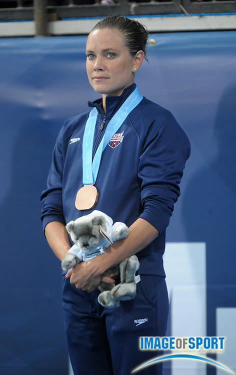 Aug 18, 2010; Irvine, CA, USA; Natalie Coughlin (USA) poses with the bronze medal after finishing third in the women's 100m backstroke in 59.70 in the 2010 Pan Pacific swimming championships at the William Woollett Jr. Aquatics Center. Photo by Image of Sport