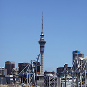 A view of Auckland showing skytower in the background and the wharfe area of the Auckland harbour in the foreground.. 26th November 2010. Photo Tim Clayton.