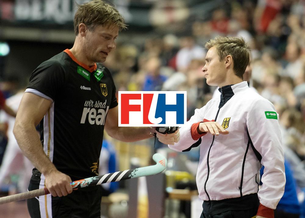 BERLIN - Indoor Hockey World Cup<br /> SF1 Germany - Iran<br /> foto: Line Up <br /> Mats Grambusch <br /> WORLDSPORTPICS COPYRIGHT FRANK UIJLENBROEK