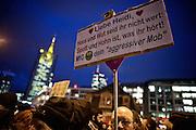 Frankfurt am Main | 02 Feb 2015<br /> <br /> Am Montag (02.02.2015) demonstrierten in Frankfurt an der Hauptwache etwa 60 PEGIDA-Anh&auml;nger mit teils extrem rassistischen Reden und Parolen z.B: gegen &quot;Islamisierung&quot;, an den Aktionen gegen die Rechtsextremisten nahmen mehrere tausend Menschen teil.<br /> Hier: Gegendemonstranten mit einem Transparent zu der Organisatorin der PEGIDA-Demo, Heidi Mund.<br /> <br /> &copy;peter-juelich.com<br /> <br /> [No Model Release | No Property Release]