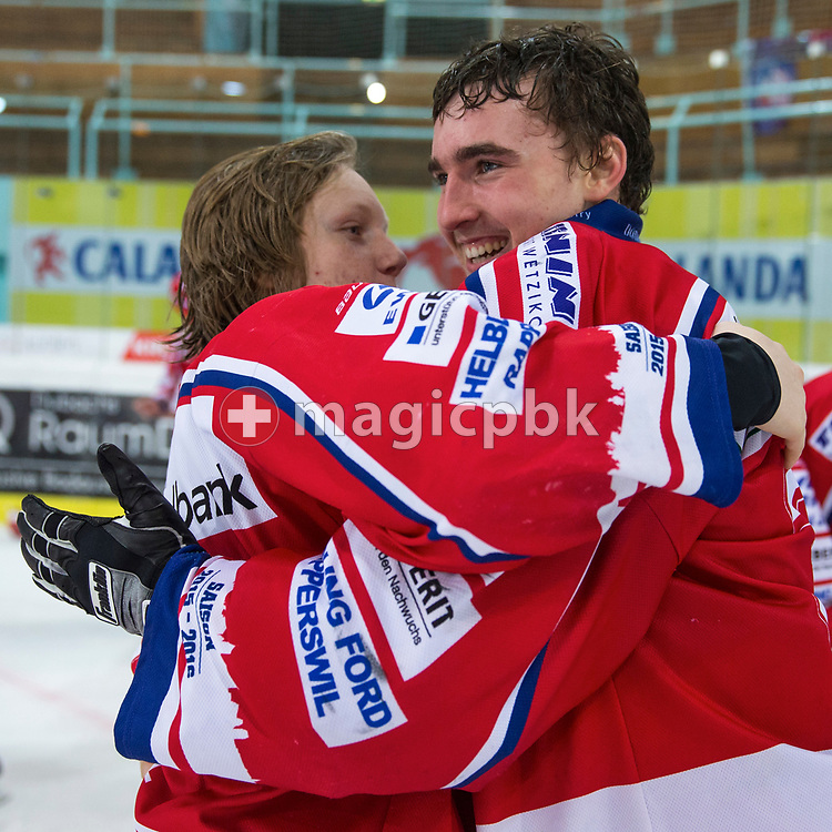 Rapperswil-Jona Lakers goaltender Beat Trudel (R) and Luca Schommer celebrate their Swiss Champion title after winning the fifth Elite B Playoff Final ice hockey game between Rapperswil-Jona Lakers and ZSC Lions held at the SGKB Arena in Rapperswil, Switzerland, Sunday, Mar. 19, 2017. (Photo by Patrick B. Kraemer / MAGICPBK)