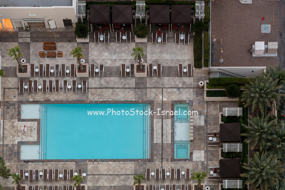 Elevated view of an empty swimming pool