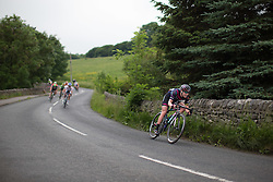 Hannah Barnes (GBR) of CANYON//SRAM Racing leads the breakaway on a fast descent during the Aviva Women's Tour 2016 - Stage 3. A 109.6 km road race from Ashbourne to Chesterfield, UK on June 17th 2016.