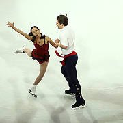 Felicia Zhang and Nathan Bartholomay are seen during the Smucker's Skating Spectacular at the TD Garden on January 12, 2014 in Boston, Massachusetts.