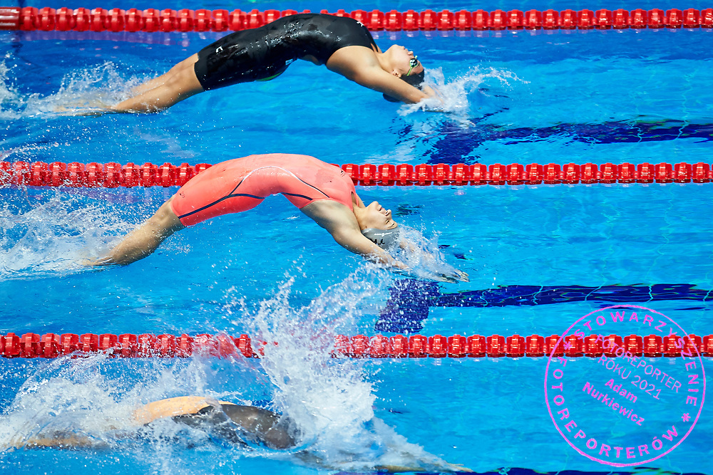 Ashgabat, Turkmenistan - 2017 September 24: Enes Begmyradowa from Turkmenistan competes in Women's 100m Backstroke Heat 2 while Short Course Swimming competition during 2017 Ashgabat 5th Asian Indoor & Martial Arts Games at Aquatics Centre (AQC) at Ashgabat Olympic Complex on September 24, 2017 in Ashgabat, Turkmenistan.<br /> <br /> Photo by © Adam Nurkiewicz / Laurel Photo Services