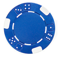 one blue poker chip