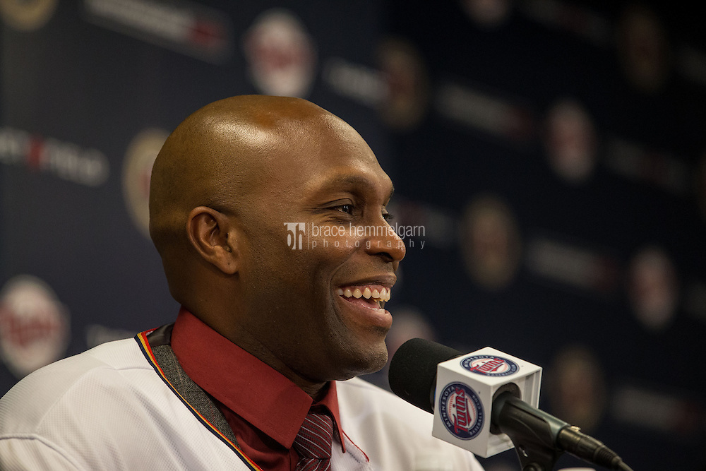 MINNEAPOLIS, MN- DECEMBER 03: Torii Hunter #48 of the Minnesota Twins is announced to the media during a press conference on December 3, 2014 at Target Field in Minneapolis, Minnesota. (Photo by Brace Hemmelgarn) *** Local Caption *** Torii Hunter