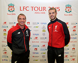 ADELAIDE, AUSTRALIA - Saturday, July 18, 2015: Liverpool's manager Brendan Rodgers and captain Jordan Henderson during a press conference at Adelaide Airport ahead of a preseason friendly match against Adelaide United on day six of the club's preseason tour. (Pic by David Rawcliffe/Propaganda)