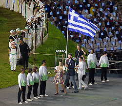 27.07.2012, Olympia Park, London, GBR, Olympia 2012, Eroeffungsfeier, im Bild Einzug der Grichischen Flagge // Greece during opening ceremony at the 2012 Summer Olympics at Olympic Park London, United Kingdom on 2012/07/27. EXPA Pictures © 2012, PhotoCredit: EXPA/ Johann Groder
