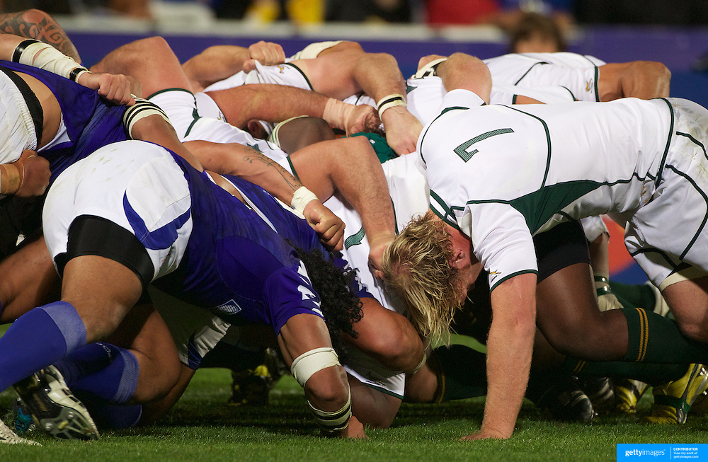 The scrum collapses during the South Africa V Samoa, Pool D match during the IRB Rugby World Cup tournament. North Harbour Stadium, Auckland, New Zealand, 30th September 2011. Photo Tim Clayton...