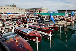 """""""Toy Boats at the Concours d'Elegance 1"""" - Photograph of classic wooden boats from the 2011 Tahoe Concours d'Elegance.  The toy boat effect was achieved using a tilt-shift lens."""
