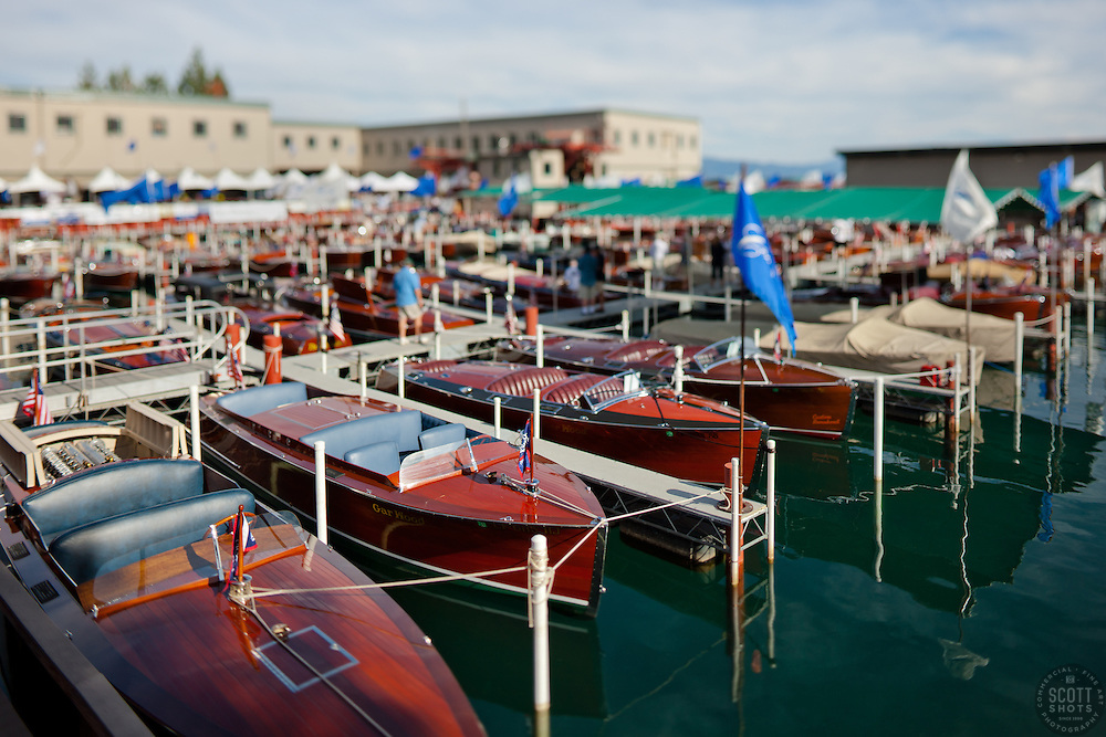 """Toy Boats at the Concours d'Elegance 1"" - Photograph of classic wooden boats from the 2011 Tahoe Concours d'Elegance.  The toy boat effect was achieved using a tilt-shift lens."