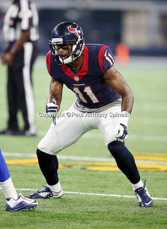 Houston Texans rookie wide receiver Jaelen Strong (11) goes out for a pass during the 2015 NFL preseason football game against the Dallas Cowboys on Thursday, Sept. 3, 2015 in Arlington, Texas. The Cowboys won the game 21-14. (©Paul Anthony Spinelli)