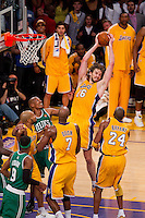 17 June 2010: Forward Pau Gasol of the Los Angeles Lakers grabs a rebound against the Boston Celtics during the second half of the Lakers 83-79 championship victory over the Celtics in Game 7 of the NBA Finals at the STAPLES Center in Los Angeles, CA.