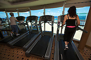 Aboard the Rhapsody of the Seas, on a cruise from Vancouver to Hawaii. The Fitness Center.