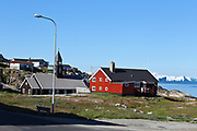 colourful houses in the town Ilulissat formerly Jakobshavn or Jacobshaven, Western Greenland