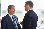 """Warsaw, Poland - 2017 April 19: (L) Mr David Haggerty - ITF President talks with (R) journalist Tomasz Tomaszewski while press conference during official visit of International Tennis Federation (ITF) at """"Orzel"""" Tennis Club  on April 19, 2017 in Warsaw, Poland.<br /> <br /> Mandatory credit:<br /> Photo by © Adam Nurkiewicz / Mediasport<br /> <br /> Adam Nurkiewicz declares that he has no rights to the image of people at the photographs of his authorship.<br /> <br /> Picture also available in RAW (NEF) or TIFF format on special request.<br /> <br /> Any editorial, commercial or promotional use requires written permission from the author of image."""