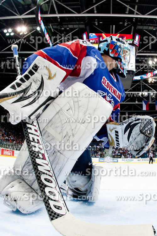 Andrej Hocevar, goalkeeper of Slovenia during ice-hockey match between Slovenia and Belarus of Group G in Relegation Round of IIHF 2011 World Championship Slovakia, on May 8, 2011 in Orange Arena, Bratislava, Slovakia. (Photo by Matic Klansek Velej / Sportida)