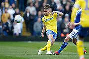 Leeds United midfielder Kalvin Phillips (23)  during the EFL Sky Bet Championship match between Birmingham City and Leeds United at St Andrews, Birmingham, England on 6 April 2019.