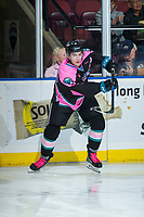 KELOWNA, CANADA - OCTOBER 21: Konrad Belcourt #5 of the Kelowna Rockets passes the puck during warm up against the Portland Winterhawks on October 21, 2017 at Prospera Place in Kelowna, British Columbia, Canada.  (Photo by Marissa Baecker/Shoot the Breeze)  *** Local Caption ***
