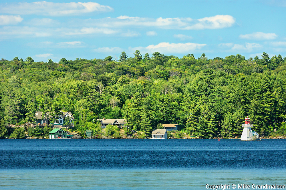 Lighthouse and cottages on Lake Rosseau, Near Rosseau, Ontario, Canada