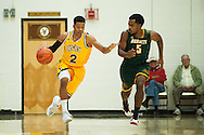 Vermont's Trae Bell-Hayens (2) dribbles the ball down the court past Lyndon's Alexis Ravelo (5) during the men's basketball game between the Lyndon State Hornets and the Vermont Catamounts at Patrick Gym on Saturday afternoon November 19, 2016 in Burlington (BRIAN JENKINS/for the FREE PRESS)