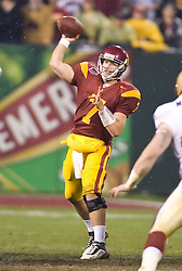Dec 26, 2009; San Francisco, CA, USA;  Southern California Trojans safety T.J. McDonald (7) throws during the third quarter against the Boston College Eagles in the 2009 Emerald Bowl at AT&T Park. USC defeated BC 24-13.