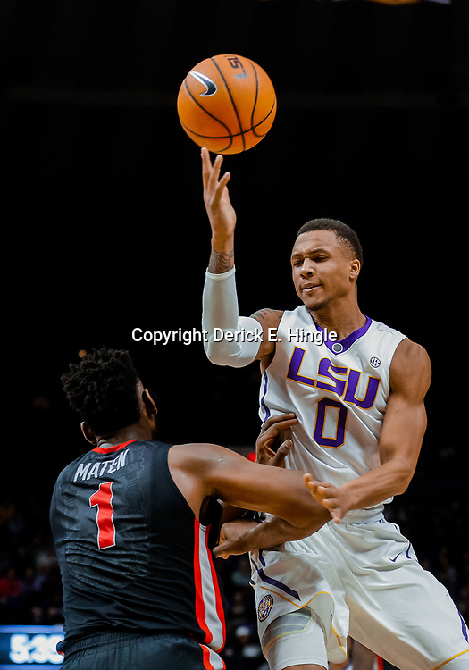 Jan 16, 2018; Baton Rouge, LA, USA; LSU Tigers guard Brandon Sampson (0) shoots over Georgia Bulldogs forward Yante Maten (1) during the second half at the Pete Maravich Assembly Center. Georgia defeated LSU 61-60. Mandatory Credit: Derick E. Hingle-USA TODAY Sports