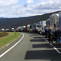 FILE PIC TO GO WITH DAVID CUNNINGHAM COURT CASE AT PERTH SHERIFF COURT.....<br />Lorries queuing on the A9 south of the double fatal crash  3 miles south of Drumochter, between a mini-bus from Glasgow and a Landrover<br /><br />see story by Gordon Currie Tel: 01738 446766<br /><br />Pic by Graeme Hart<br />Copyright Perthshire Picture Agency<br />Tel: 01738 623350 / 07990 594431