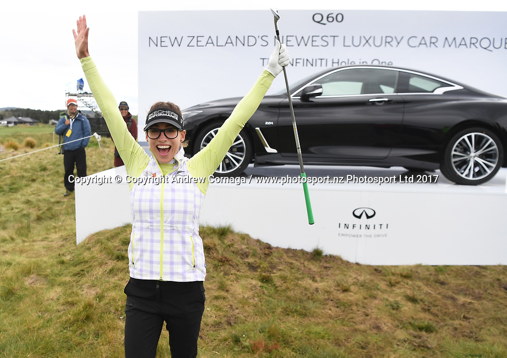 Spain's Belen Mozo celebrates her hole in one on the 13th tee.<br /> Round 2. McKayson NZ Women's Open 2017. LPGA Tour. Windross Farm, Auckland, New Zealand. Friday 29 September 2017. &copy; Copyright Photo: Andrew Cornaga / www.photosport.nz