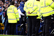 A young Everton fan gets a hug and a picture with 'Big Dunc' Everton Caretaker Manager Duncan Ferguson during the Premier League match between Everton and Arsenal at Goodison Park, Liverpool, England on 21 December 2019.
