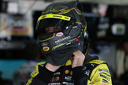 September 29, 2018 - Charlotte, NC, U.S. - CHARLOTTE, NC - SEPTEMBER 29: #12: Ryan Blaney, Team Penske, Ford Fusion Menards/Pennzoil traps his helmet in the garages during the Monster Energy NASCAR Cup Series Playoff Race - Bank of America ROVAL 400 on September 29, 2018, at Charlotte Motor Speedway in Concord, NC. (Photo by Jaylynn Nash/Icon Sportswire) (Credit Image: © Jaylynn Nash/Icon SMI via ZUMA Press)