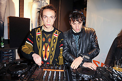 Members of The Mystery Jets William Rees and Kai Fish at the Lee store re-launch party held at 13-14 Carnaby Street, London on 31st March 2010.