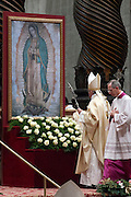 Vatican City dec 12th 2015, holy mass in St Peter's Basilica for festivity of Our Lady of Guadalupe. In the picture pope Francis at the picture of the Virgin