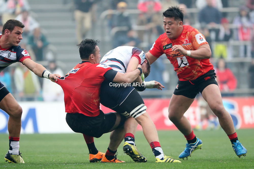 (L to R) Yoshiya Hosoda (Sunwolves), Takuma Asahara (Sunwolves),<br /> MARCH 19, 2016 - Rugby : Super Rugby match between Sunwolves 9-35 Melbourne Rebels at Prince Chichibu Memorial Stadium in Tokyo, Japan. (Photo by AFLO)