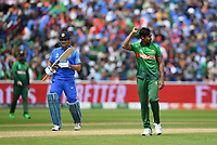 Cricket - 2019 ICC Cricket World Cup - Group Stage: Bangladesh vs. India<br /> <br /> Bangladesh's Mustafizur Rahman celebrates taking the wicket of India's Dinesh Karthik caught by Mosaddek Hossain for 8, at Edgbaston<br /> <br /> COLORSPORT/ASHLEY WESTERN