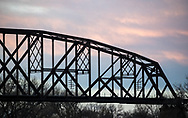A train trestle between Mandan and Bismarck, ND, over the Missouri River, in the morning of Tuesday, Nov. 14, 2017