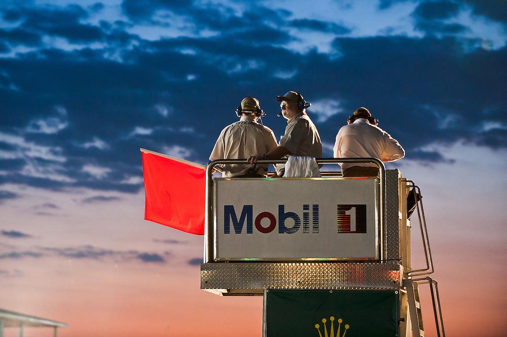 Flagstand at sunset. ALMS, 2011 Sebring 12Hr  IMSA, American Le Mans Series, ILMC. Sebring International Raceway. Sebring, FL USA 2011/03  ©MotorRacingPhoto