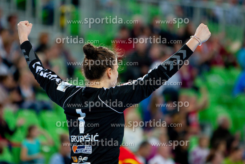 Jelena Grubisic of Krim Mercator at handball match between RK Krim Mercator (SLO) and Viborg HK (DEN) of 2nd Round of Women's Champions League on October 7, 2011 in Arena Stozice, Ljubljana, Slovenia. (Photo by Urban Urbanc / Sportida.com)