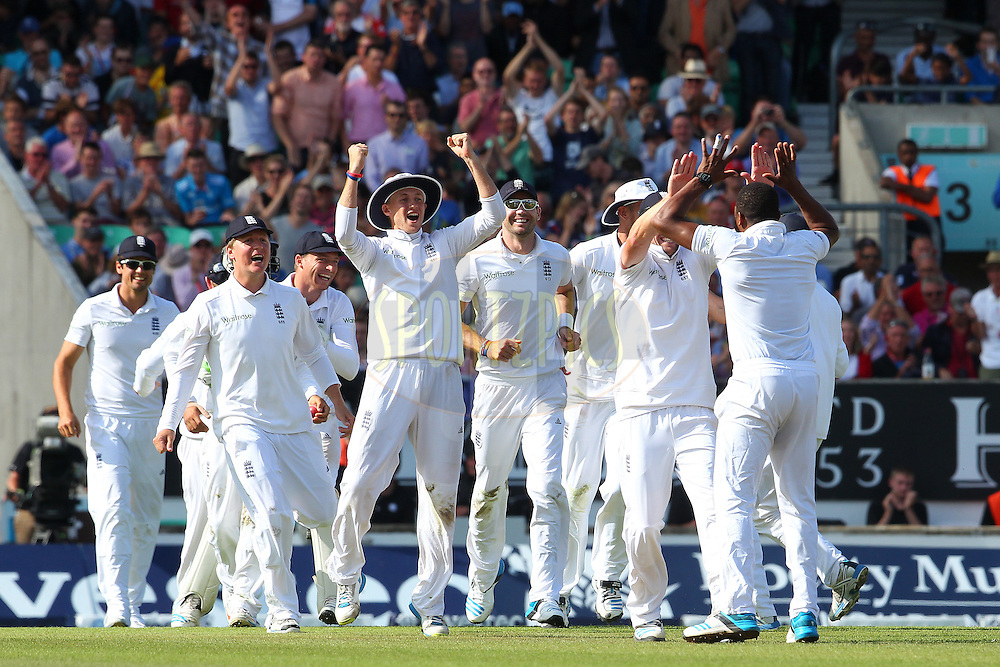 England celebrate the win during day three of the fifth Investec Test Match between England and India held at The Kia Oval cricket ground in London, England on the 17th August 2014<br /> <br /> Photo by Ron Gaunt / SPORTZPICS/ BCCI