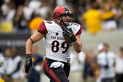 BERKELEY, CA - SEPTEMBER 12:  Tight end Daniel Brunskill #89 of the San Diego State Aztecs rushes up field after a pass reception for a touchdown against the California Golden Bears during the first quarter at California Memorial Stadium on September 12, 2015 in Berkeley, California. The California Golden Bears defeated the San Diego State Aztecs 35-7. (Photo by Jason O. Watson/Getty Images) *** Local Caption *** Daniel Brunskill