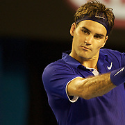 Roger Federer of Switzerland during his victory over Juan Martin Del Potro of Argentina at the Australian Tennis Open on January 27, 2009 in Melbourne, Australia. Photo Tim Clayton    .