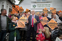 © Licensed to London News Pictures. 28/04/2017. London, UK. Vince Cable (C) stands with his wife Rachel Smith (in pink) as he launches his election campaign with supporters on Twickenham Green in a bid to return to Parliament.  Photo credit: Peter Macdiarmid/LNP